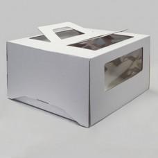 Коробка для торта 30х30х20см белая с окном /6014